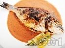 Рецепта Печена риба ципура с хрупкава коричка на керемида във фурна с доматен сос с кориандър, розмарин и копър